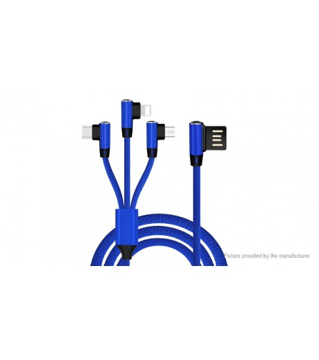 3-in-1 8-pin/Micro-USB/USB-C to USB 2.0 Charging Cable (150cm)