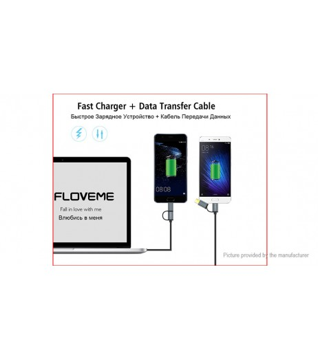 Authentic Floveme 2-in-1 Micro-USB/USB-C to USB 2.0 Data Sync / Charging Cable
