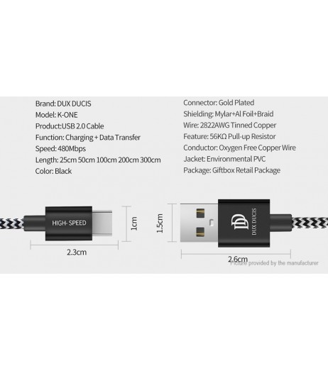 DUX DUCIS USB-C to USB 2.0 Braided Data Sync / Charging Cable (200cm)
